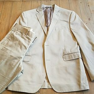 Saks Fifth Avenue Red Trim Fit Tan suit